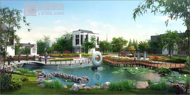 地产建筑景观规划设计理念: 项目规划强调返璞归真,与自然相生的原则,建筑设计汲取了中国建筑文化的国粹神韵,除了在建筑上,景观小品上对中式符号进行多处提炼性运用之外,同时也希望将诗书琴画的传统生活方式也引入别墅组团的文化中,以将中国哲学与美学精神融入别墅区文化中,吸引高端客户入驻。建筑沿东西中轴布置,保证建筑最佳朝向。 景观设计: 中轴线性景观带,形成一条视觉长廊,为景观设计预留很大的设计空间,贯穿诗书琴画韵清香七大别墅组团,每个组团独具特色,建筑在统一的风格下配合景观主题变化,7