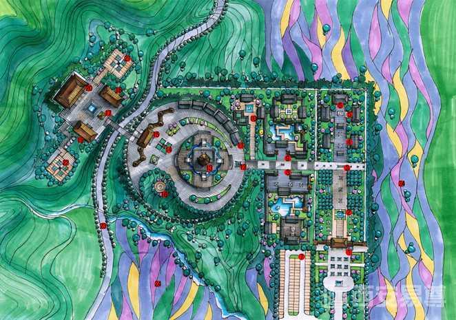景区规划设计鸟瞰图手绘表现图