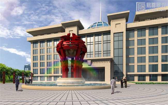 楼前景观雕塑效果图